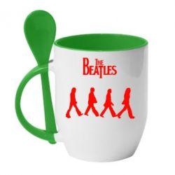 Кружка с керамической ложкой Beatles Group - FatLine