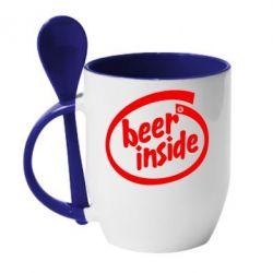 Кружка с керамической ложкой Beer Inside - FatLine
