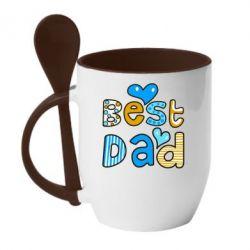 Кружка с керамической ложкой Best Dad - FatLine