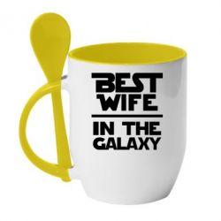 Кружка с керамической ложкой Best wife in the Galaxy