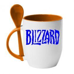 Кружка с керамической ложкой Blizzard Logo - FatLine