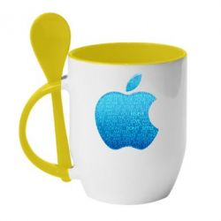 Кружка с керамической ложкой Blue Apple - FatLine