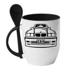 Кружка с керамической ложкой BMW E34 - FatLine
