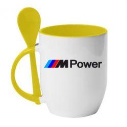 Кружка с керамической ложкой BMW M Power logo - FatLine