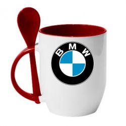 Кружка с керамической ложкой BMW Small - FatLine
