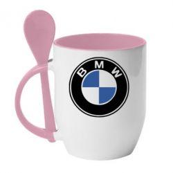 Кружка с керамической ложкой BMW - FatLine