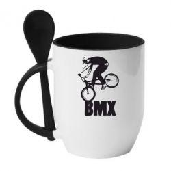 Кружка с керамической ложкой Bmx Boy - FatLine