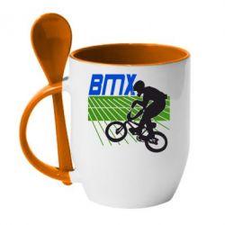 Кружка с керамической ложкой BMX Sport - FatLine