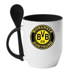 Кружка с керамической ложкой Borussia Dortmund - FatLine