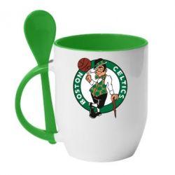 Кружка с керамической ложкой Boston Celtics - FatLine
