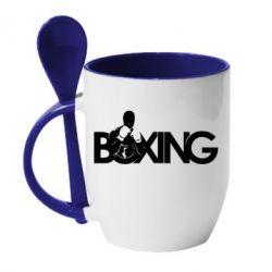 Кружка с керамической ложкой Boxing Art - FatLine