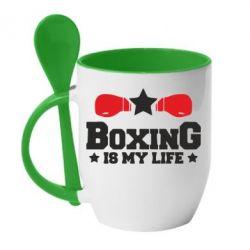 Кружка з керамічною ложкою Boxing is my life