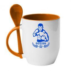 Кружка с керамической ложкой Boxing Star - FatLine