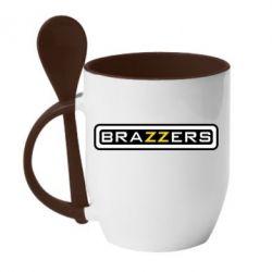 Кружка с керамической ложкой Brazzers - FatLine