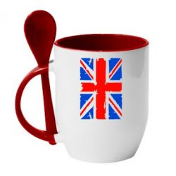 Кружка с керамической ложкой Британский флаг - FatLine