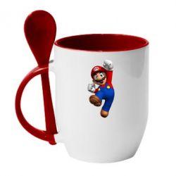 Кружка с керамической ложкой Brother Mario - FatLine