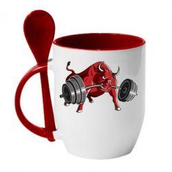 Кружка с керамической ложкой Bull with a barbell - FatLine