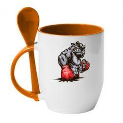 Кружка с керамической ложкой Bulldog MMA - FatLine