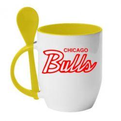 Кружка с керамической ложкой Bulls from Chicago - FatLine