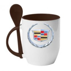 Кружка с керамической ложкой Cadillac - FatLine