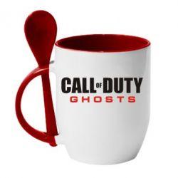 Кружка с керамической ложкой Call of Duty Ghosts Logo - FatLine