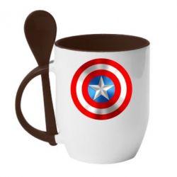 Кружка с керамической ложкой Captain America 3D Shield - FatLine