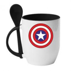 Кружка с керамической ложкой Captain America - FatLine