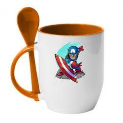 Кружка с керамической ложкой Cartoon Captain America - FatLine