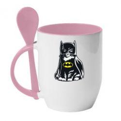 Кружка с керамической ложкой Cat Batman - FatLine