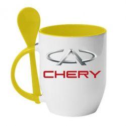 Кружка с керамической ложкой Chery Logo - FatLine
