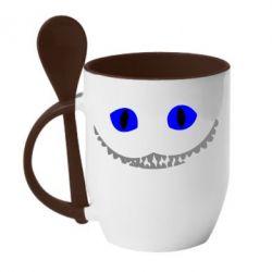 Кружка с керамической ложкой чеширский кот - FatLine