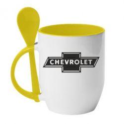 Кружка с керамической ложкой Chevrolet Logo Small - FatLine