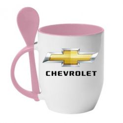 Кружка с керамической ложкой Chevrolet Logo - FatLine