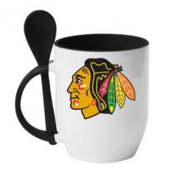 Кружка с керамической ложкой Chicago Black Hawks - FatLine