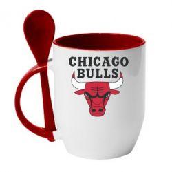 Кружка с керамической ложкой Chicago Bulls Classic - FatLine