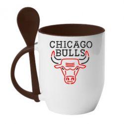 Кружка с керамической ложкой Chicago Bulls Logo - FatLine