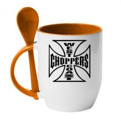 Кружка с керамической ложкой Choppers - FatLine