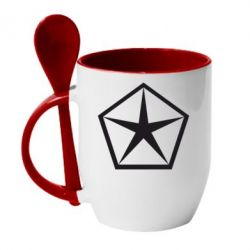 Кружка с керамической ложкой Chrysler Star - FatLine