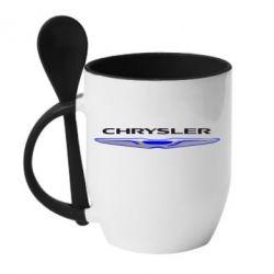 Кружка с керамической ложкой Chrysler - FatLine