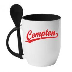Кружка с керамической ложкой Compton Vintage - FatLine
