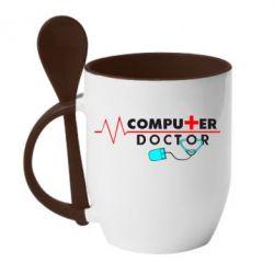 Кружка з керамічною ложкою Computer Doctor