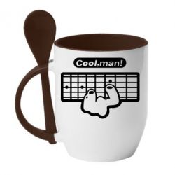 Кружка с керамической ложкой Cool man? - FatLine
