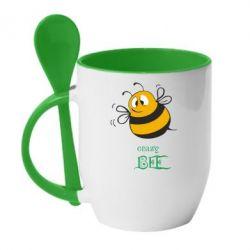 Кружка с керамической ложкой Crazy Bee - FatLine