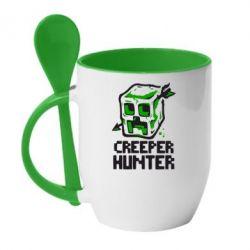Кружка с керамической ложкой Creeper Hunter - FatLine