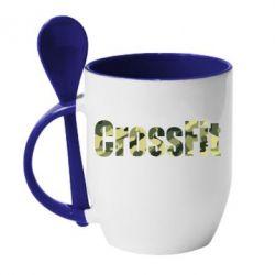 Кружка с керамической ложкой CrossFit камуфляж - FatLine