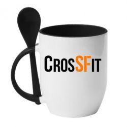 Кружка с керамической ложкой CrossFit SF - FatLine
