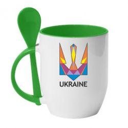 Кружка с керамической ложкой Цветной герб - FatLine