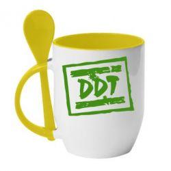 Кружка с керамической ложкой DDT (ДДТ) - FatLine