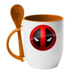 Кружка с керамической ложкой Deadpool Logo - FatLine