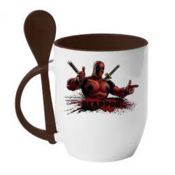 Кружка с керамической ложкой Deadpool Paint - FatLine